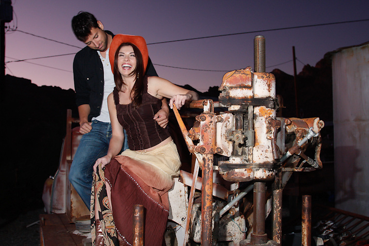 Models pose on some rustic remains in Nelson, NV.