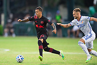 LAKE BUENA VISTA, FL - JULY 22: Kaku #10 of the New York Red Bulls dribbles the ball during a game between New York Red Bulls and FC Cincinnati at Wide World of Sports on July 22, 2020 in Lake Buena Vista, Florida.