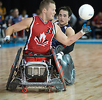 MISSISSAUGA, ON, AUGUST 12, 2015. Wheelchair Rugby - Canada vs USA in preliminary action. USA won the game 60-59 in double overtime - Zak Madell.<br /> Photo: Dan Galbraith/Canadian Paralympic Committee