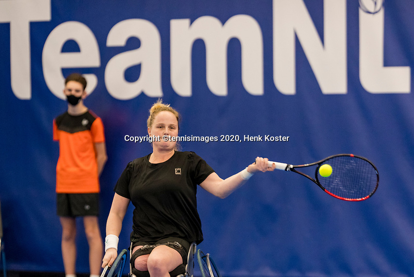 Amstelveen, Netherlands, 12  December, 2020, National Tennis Center, NTC, NKR, National   Indoor Wheelchair Tennis Championships, Women's single Final : <br /> Aniek van Koot (NED)<br /> Photo: Henk Koster/tennisimages.com