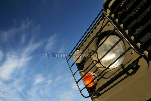 Ex-Army Land Rover Defender 90 Diesel with lamp guards. Europe, UK, England. --- No releases available. Automotive trademarks are the property of the trademark holder, authorization may be needed for some uses.