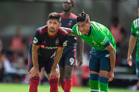 LAKE BUENA VISTA, FL - JULY 14: Jonathan Bornstein #3 of the Chicago Fire and Xavier Arreaga #3 of the Seattle Sounders wait for the corner during a game between Seattle Sounders FC and Chicago Fire at Wide World of Sports on July 14, 2020 in Lake Buena Vista, Florida.