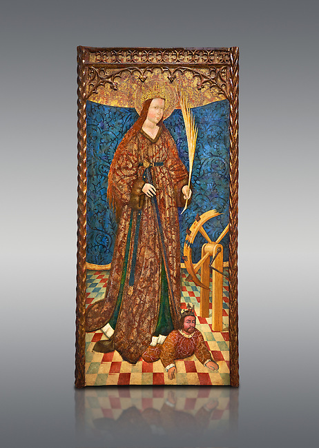Gothic altarpiece of Saint Catarina (Catherine), 3rd quarter of the 15th century, tempera and gold leaf on for wood.  National Museum of Catalan Art, Barcelona, Spain, inv no: MNAC   114746-7.