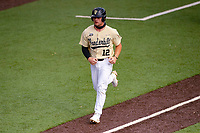 Vanderbilt Commodores first baseman Dominic Keegan (12) jogs to the plate against the Tennessee Volunteers on Robert M. Lindsay Field at Lindsey Nelson Stadium on April 17, 2021, in Knoxville, Tennessee. (Danny Parker/Four Seam Images)