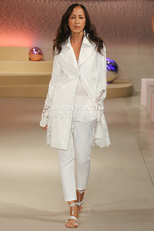 """Model Pat Cleveland walks runway in an outfit from the Elie Tahari Spring 2016 """"Future-Nature"""" collection, during New York Fashion Week Spring 2016."""