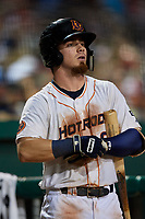 Bowling Green Hot Rods center fielder Carl Chester (9) on deck during a game against the Peoria Chiefs on September 15, 2018 at Bowling Green Ballpark in Bowling Green, Kentucky.  Bowling Green defeated Peoria 6-1.  (Mike Janes/Four Seam Images)