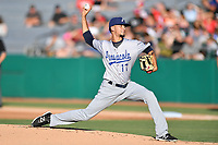 Pensacola Blue Wahoos starting pitcher Jesus Reyes (17) delivers a pitch during a game against the Tennessee Smokies at Smokies Stadium on August 5, 2017 in Kodak, Tennessee. The Smokies defeated the Blue Wahoos 6-2. (Tony Farlow/Four Seam Images)