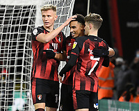 Junior Stanislas of AFC Bournemouth left celebrates scoring the first goal with David Brooks of AFC Bournemouth and Sam Surridge of AFC Bournemouth during AFC Bournemouth vs Wycombe Wanderers, Sky Bet EFL Championship Football at the Vitality Stadium on 15th December 2020