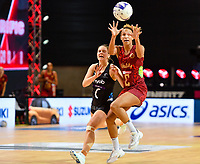 24th September 2021: Christchurch, New Zealand;  Serena Guthrie of England eludes Claire Kersten of the Silver Ferns during the third Cadbury Netball Series/Taini Jamison Trophy, New Zealand Silver Ferns versus England Roses, Christchurch Arena, Christchurch, New Zealand