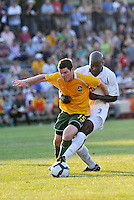 Mike Ambersley #15 AC St Louis, Nelson Akwari...AC St Louis and Vancouver Whitecaps played to a 0-0 tie at Anheuser-Busch Soccer Park, Fenton, Missouri.
