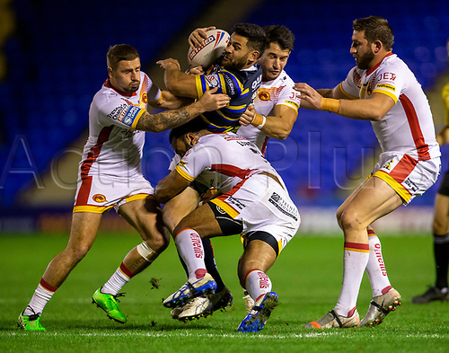 13th November 2020; The Halliwell Jones Stadium, Warrington, Cheshire, England; Betfred Rugby League Playoffs, Catalan Dragons versus Leeds Rhinos; Rhyse Martin of Leeds Rhinos is tackled by Samisoni Langi of Catalans Dragons