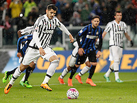 Calcio, Serie A: Juventus vs Inter. Torino, Juventus Stadium, 28 February 2016.<br /> Juventus' Alvaro Morata scores on a penalty kick during the Italian Serie A football match between Juventus and Inter at Turin's Juventus Stadium, 28 February 2016.<br /> UPDATE IMAGES PRESS/Isabella Bonotto
