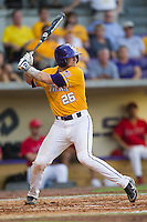 LSU Tigers catcher Ty Ross #26 at bat during the NCAA Super Regional baseball game against Stony Brook on June 10, 2012 at Alex Box Stadium in Baton Rouge, Louisiana. Stony Brook defeated LSU 7-2 to advance to the College World Series. (Andrew Woolley/Four Seam Images)