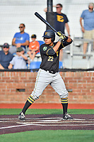 Bristol Pirates first baseman Jhoan Herrera (22) awaits a pitch during a game against the Johnson City Cardinals at TVA Credit Union Ballpark on June 23, 2017 in Johnson City, Tennessee. The Pirates defeated the Cardinals 4-3. (Tony Farlow/Four Seam Images)