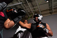 October 13, 2012, Delran, New Jersey, USA: Derek Frazier (right) fights Geraldo Rios during the taping of the MTV reality show Made at It's On Boxing/MMA.