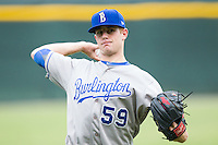 Burlington Royals starting pitcher Carter Hope (59) warms up in the outfield prior to the game against the Pulaski Mariners at Calfee Park on June 20, 2014 in Pulaski, Virginia.  The Mariners defeated the Royals 6-4. (Brian Westerholt/Four Seam Images)