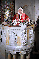 Pope Benedict XVI during his visits Rome's Lutheran church on March 14, 2010.
