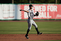 Augusta GreenJackets shortstop Cam Shepherd (7) makes a throw to first base against the Charleston RiverDogs at Joseph P. Riley, Jr. Park on June 27, 2021 in Charleston, South Carolina. (Brian Westerholt/Four Seam Images)