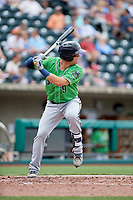 Gwinnett Stripers shortstop Tyler Smith (9) at bat during a game against the Columbus Clippers on May 17, 2018 at Huntington Park in Columbus, Ohio.  Gwinnett defeated Columbus 6-0.  (Mike Janes/Four Seam Images)