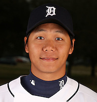 February 27, 2010:  Pitcher Fu-Te Nu (59) of the Detroit Tigers poses for a photo during media day at Joker Marchant Stadium in Lakeland, FL.  Photo By Mike Janes/Four Seam Images