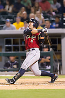 Austin Romine (2) of the Scranton/Wilkes-Barre RailRiders follows through on his swing against the Charlotte Knights at BB&T Ballpark on July 17, 2014 in Charlotte, North Carolina.  The Knights defeated the RailRiders 9-5.  (Brian Westerholt/Four Seam Images)