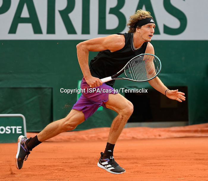 Alexandre Zverev (GER) during his first round match during Roland Garros 2021. Sunday may 30, 2021. Paris. France.