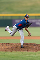 AZL Rangers relief pitcher Tyler Cohen (55) follows through on his delivery during an Arizona League playoff game against the AZL Cubs 1 at Sloan Park on August 29, 2018 in Mesa, Arizona. The AZL Cubs 1 defeated the AZL Rangers 8-7. (Zachary Lucy/Four Seam Images)