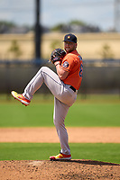 Houston Astros pitcher Tyler Brown (80) during a Minor League Spring Training game against the Washington Nationals on April 27, 2021 at FITTEAM Ballpark of the Palm Beaches in Palm Beach, Fla.  (Mike Janes/Four Seam Images)