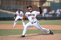 Salt River Rafters relief pitcher Kirby Bellow (22), of the Arizona Diamondbacks organization, delivers a pitch to the plate during an Arizona Fall League game against the Mesa Solar Sox on October 30, 2017 at Salt River Fields at Talking Stick in Scottsdale, Arizona. The Solar Sox defeated the Rafters 8-4. (Zachary Lucy/Four Seam Images)