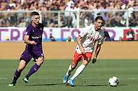 Calcio, Serie A: Fiorentina - Juventus, stadio Artemio Franchi Firenze 14 settembre 2019<br /> Juventus' Cristiano Ronaldo (r) in action with Fiorentina's Nikola Milenkovic (l) during the Italian Serie A football match between Fiorentina and Juventus at Florence's Artemio Franchi stadium, September 14, 2019. <br /> UPDATE IMAGES PRESS/Isabella Bontto