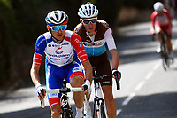 14th March 2020, Paris to Nice cycling tour, final day, stage 7;  MOLARD Rudy (FRA) of GROUPAMA - FDJ and BARDET Romain (FRA) of AG2R LA MONDIALE in action during stage 7 of the 78th edition of the Paris - Nice cycling race, a stage of 166,5km with start in Nice and finish in Valdeblore La Colmiane on March 14, 2020 in Valdeblore La Colmiane, France