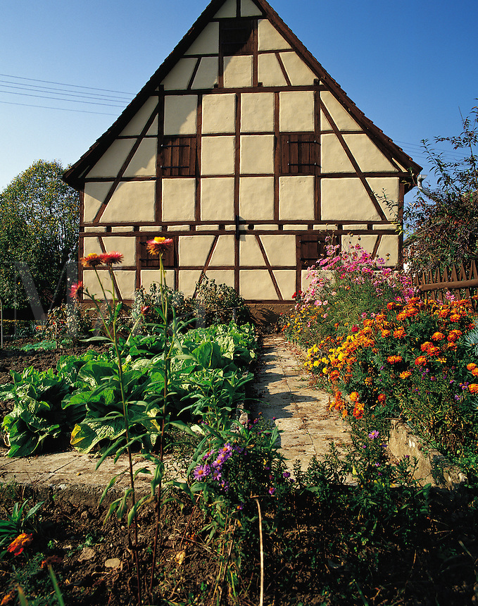 Traditional house and garden in the village of Bachlingen, in the Black Forest, Bavaria, southern German
