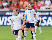 HOUSTON, TX - JUNE 10: Samantha Mewis #3 of the United States reacts to missing her shot on the Portugal goal during a game between Portugal and USWNT at BBVA Stadium on June 10, 2021 in Houston, Texas.