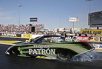 Apr. 7, 2013; Las Vegas, NV, USA: NHRA funny car driver Alexis DeJoria during the Summitracing.com Nationals at the Strip at Las Vegas Motor Speedway. Mandatory Credit: Mark J. Rebilas-