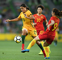 22 November 2017, Melbourne - SAM KERR (20) of Australia kicks the ball during an international friendly match between the Australian Matildas and China PR at AAMI Stadium in Melbourne, Australia.. Australia won 5-1. Photo Sydney Low