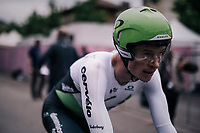 Ben King (USA/Dimension Data) after finishing<br /> <br /> stage 16: Trento – Rovereto iTT (34.2 km)<br /> 101th Giro d'Italia 2018