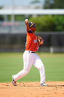 GCL Astros second baseman Juan Pineda (16) throws to first during the first game of a doubleheader against the GCL Mets on August 5, 2016 at Osceola County Stadium Complex in Kissimmee, Florida.  GCL Astros defeated the GCL Mets 4-1 in the continuation of a game started on July 21st and postponed due to inclement weather.  (Mike Janes/Four Seam Images)