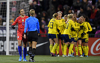 COLUMBUS, OH - NOVEMBER 07: Carli Loyd #10 talks with the referee while Sweden celebrates a goal during a game between Sweden and USWNT at MAPFRE Stadium on November 07, 2019 in Columbus, Ohio.