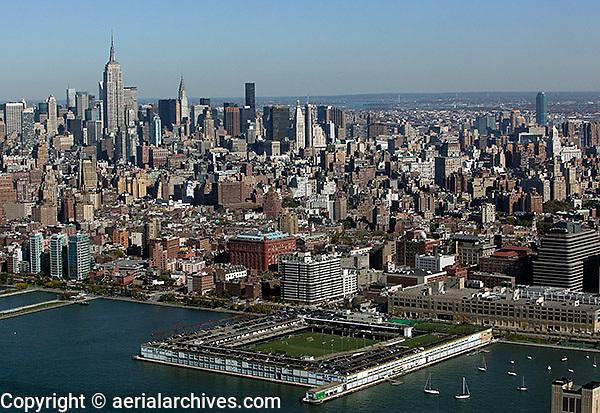 aerial view above midtown Manhattan Hudson River Park Trust Recreational Center Pier 40 New York city
