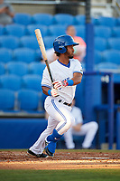 Dunedin Blue Jays second baseman Ivan Castillo (1) follows through on a swing during a game against the Fort Myers Miracle on April 17, 2018 at Dunedin Stadium in Dunedin, Florida.  Dunedin defeated Fort Myers 5-2.  (Mike Janes/Four Seam Images)