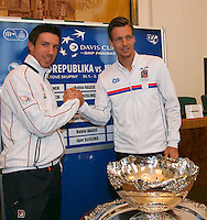 30-01-2014,Czech Republic, Ostrava, Cez Arena, Davis Cup, Czech Republic vs Netherlands, draw, city hall, second single Igor Sijsling (NED) vs Tomas Berdych (CHE)<br /> Photo: Henk Koster