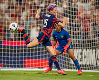 AUSTIN, TX - JUNE 16: Megan Rapinoe #15 of the USWNT tries to control the ball during a game between Nigeria and USWNT at Q2 Stadium on June 16, 2021 in Austin, Texas.