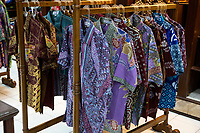 Yogyakarta, Java, Indonesia.  Batik Sales Room, Raradjonggrang Batik Factory.  Shirts for Sale.