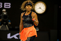 10th February 2021, Melbourne, Victoria, Australia; Naomi Osaka of Japan celebrates after winning a game during round 2 of the 2021 Australian Open on February 10 2020, at Melbourne Park in Melbourne, Australia.