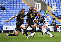 3rd October 2020; Madejski Stadium, Reading, Berkshire, England; English Football League Championship Football, Reading versus Watford; George Puscas of Reading turns, shoots and scores under pressure from Craig Cathcart of Watford in 41st minute 1-0