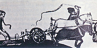 Technology:  Horses and plows--a team of horses with rigid collars yoked to the revolutionary high wheeled plow.  Gimpel, MEDIEVAL MACHINES, p. 42.