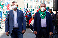 Pierpaolo Bombardieri, secretary of UIL trade union and Luigi Sbarra, secretary of CISL trade union pose for photographers during the demonstration of the trade unions in Piazza Montecitorio .<br /> Rome (Italy), May 28th 2021<br /> Photo Samantha Zucchi Insidefoto