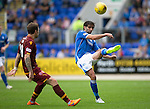 St Johnstone v Motherwell...22.08.15  SPFL   McDiarmid Park, Perth<br /> Simon Lappin clears from Josh Law<br /> Picture by Graeme Hart.<br /> Copyright Perthshire Picture Agency<br /> Tel: 01738 623350  Mobile: 07990 594431