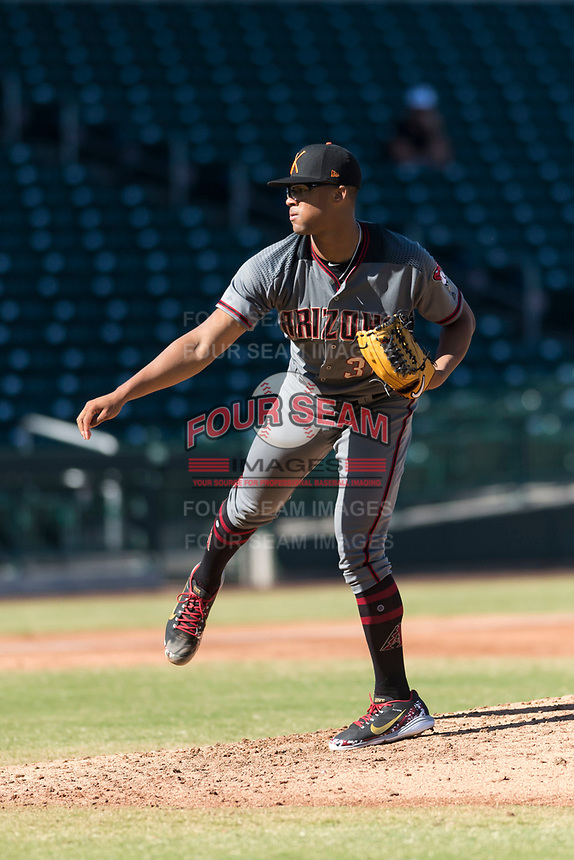 Salt River Rafters starting pitcher Jon Duplantier (31), of the Arizona Diamondbacks organization, follows through on his delivery during an Arizona Fall League game against the Mesa Solar Sox at Sloan Park on October 30, 2018 in Mesa, Arizona. Salt River defeated Mesa 14-4 . (Zachary Lucy/Four Seam Images)