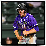 #OTD On This Day, May 25, 2017, Jason Costa (9) of the Furman Paladins celebrated after scoring a run in a game against the Mercer Bears as part of the Southern Conference Championship series at Fluor Field at the West End in Greenville, South Carolina. Furman won, 6-1. (Tom Priddy/Four Seam Images) #MiLB #OnThisDay #MissingBaseball #nobaseball #stayathome #Baseball #AloneTogether